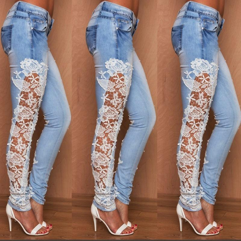 2017 Plus Size Moda Jeans Light Blue oco Out Lace Floral Side costura denim stretch Mulheres Slim Pencil Jeans S-XL