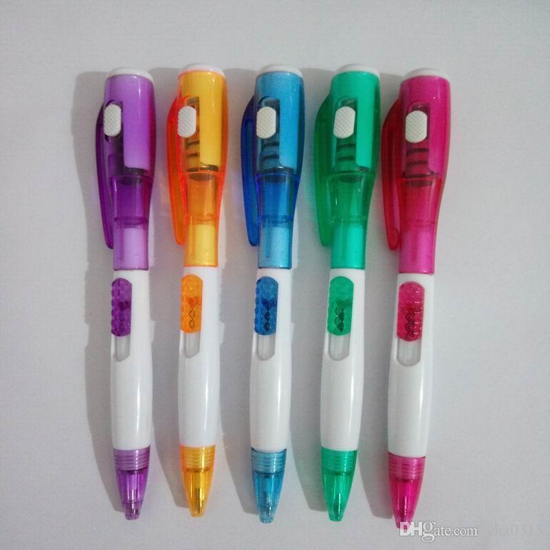 Artigos de papelaria criativa bonito do escritório com a lanterna elétrica conduzida nova Multifunction Pen Pen Color Random
