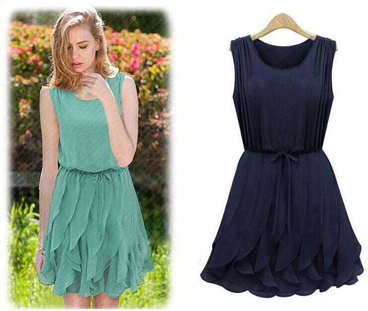 2015 Hot Sale New Womens Summer Casual Dress Ruffles O-Neck Loose ...