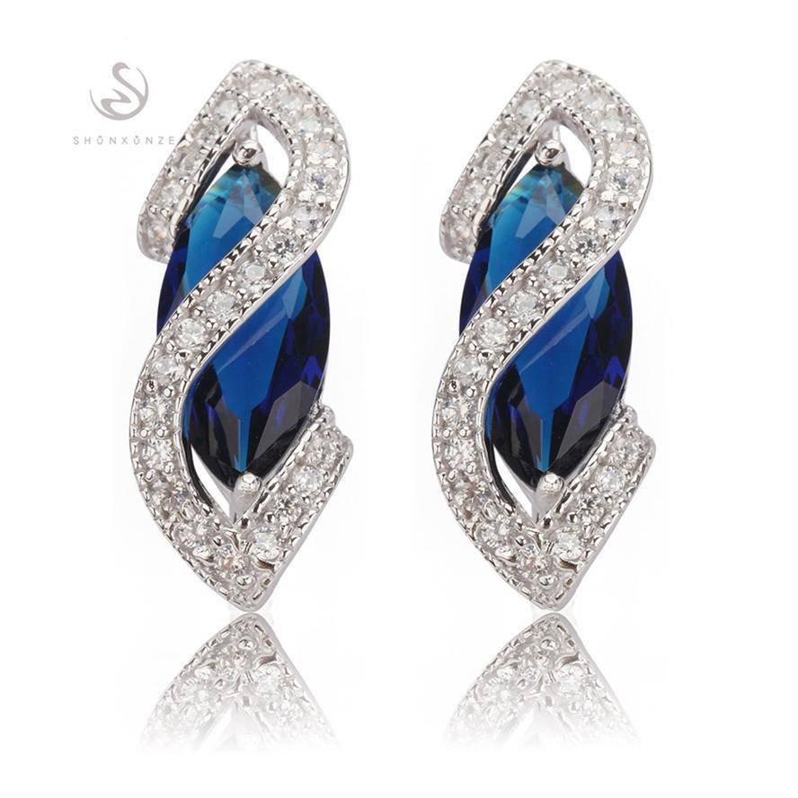 Desconto de tempo limitado Os mais vendidos Presente de Natal Favorito MN849 Azul Vintage Cubic Zirconia Shinning Ródio Banhado A Rhodium Trendy Earrings