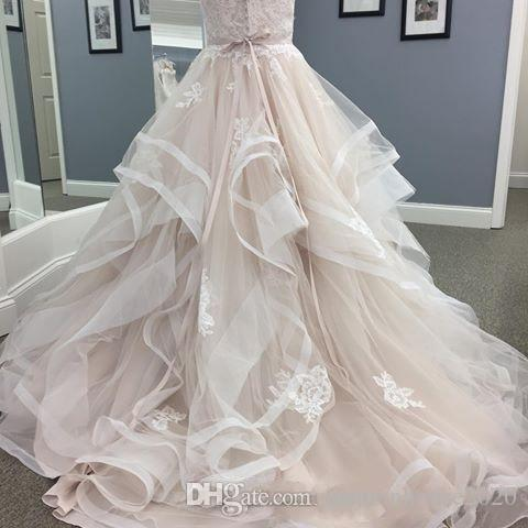 2017 Wedding Dresses Sweetheart Sleeveless Lace Appliques Crystal Beach Bohemian Tulle Sashes Tiered Skirts Plus Size Bridal Gowns Custom