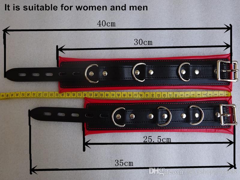 Нержавеющая сталь металл регулируемый разбрасыватель бар сексуальная кожа бондаж комплект унисекс секс-рабыней руки лодыжки манжеты БДСМ фетиш ограничения кандалы