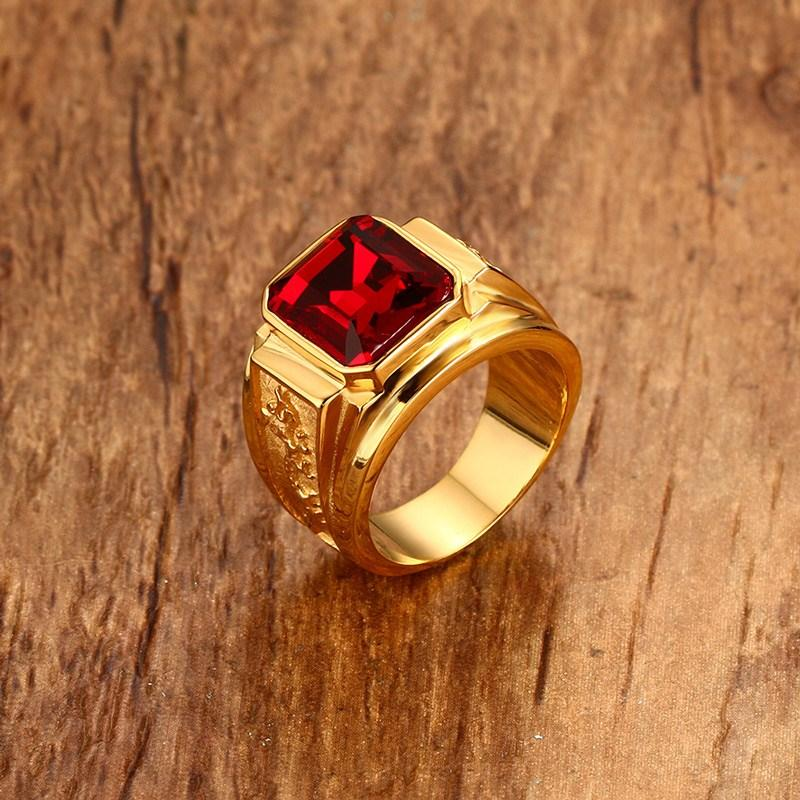 2019 Wholesale Mens Signet Rings Gold Color Red Blue Stone Ring