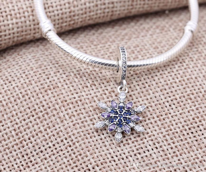 Sterling Silver Charms 925 Ale Hiver Strass Flocon De Neige Pendants Charmes Européens pour Pandora Bracelets DIY Perles Accessries Nouvel An Cadeau