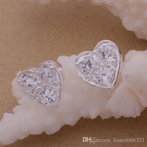 Fashion Produttore di gioielli 20 pezzi molto Cuore 3 orecchini di diamanti 925 gioielli in argento sterling prezzo di fabbrica Moda brillare Orecchini