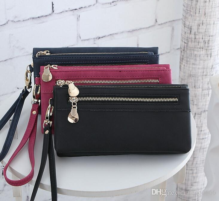 26d2e5812d8b High Capacity Fashion Women Wallets Long Dull Polish PU Leather Wallet  Female Double Zipper Clutch Coin Purse Ladies Wristlet G1064 Ms. Long  Wallet Pu ...