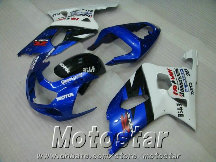 ABS plastic bodykits for SUZUKI GSX-R600 GSX-R750 01 02 03 fairing kit K1 GSXR 600/750 2001-2003 blue white fairings set SK51