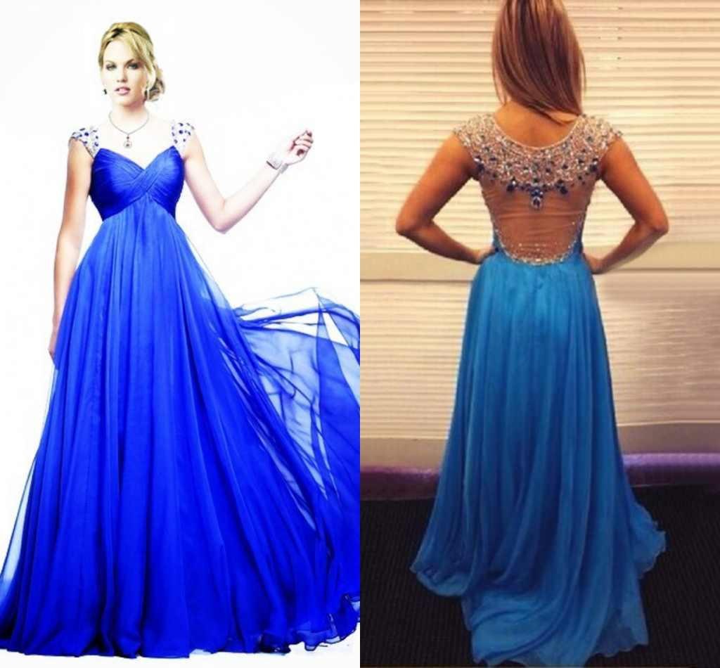 Formal Gown Sexy - Real Photo Royal Blue Porn Long Gowns Sweetheart Illusion Beads Crystal  Chiffon Wedding Party Gowns Evening Dress Red Carpet Gowns Cheap ZYY