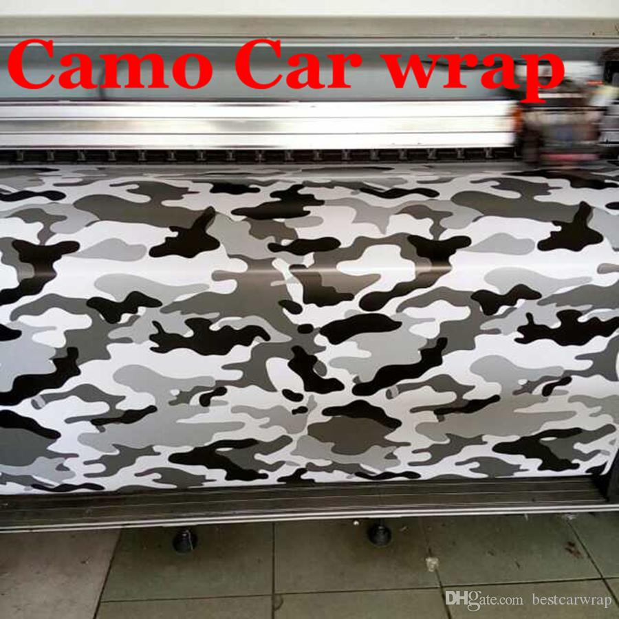 2019 white black grey arctic camo vinyl car wrapping with air release camouflage car styling covers snow camo film car stickers 1 52 x 30m roll from