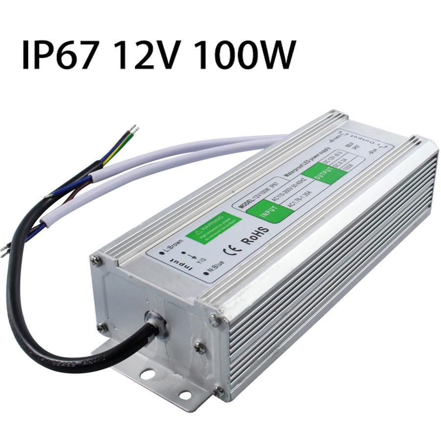 2018 dc 12v 100w ip67 waterproof led driver ac100 260v to dc 12v led