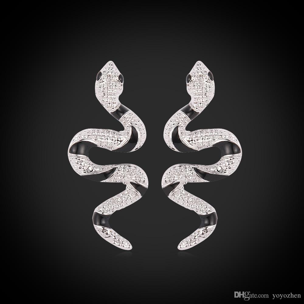 Schattige slang oorknopjes 18K echt vergulde zwarte kristal elegante mode-sieraden cadeau voor vrouwen fabriek groothandel ye2270