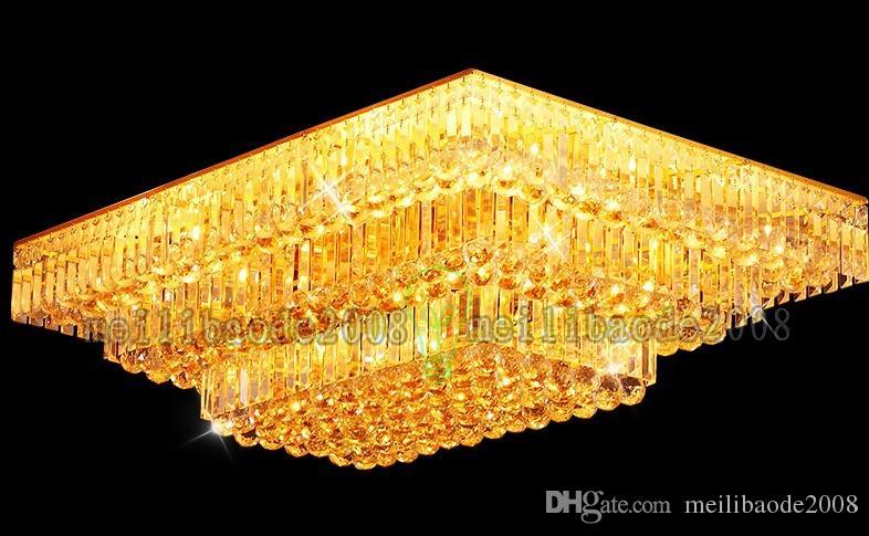 TOP19 Современная гостиная атмосфера Золотой прямоугольник / площадь Кристалл лампы спальня огни освещение потолок ресторан столовая виллы