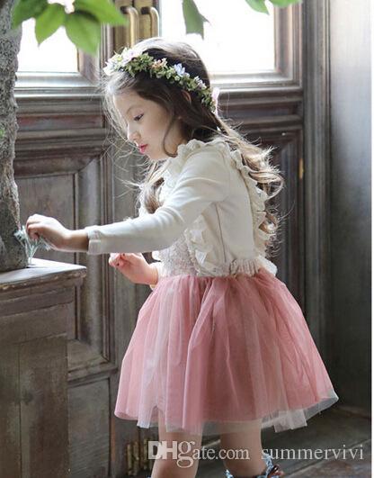 Kızlar dantel yaylar askı elbiseler bahar yeni marka çocuk giyim sevimli kore bebek moda dantel tül prenses çocuk parti elbise A7171
