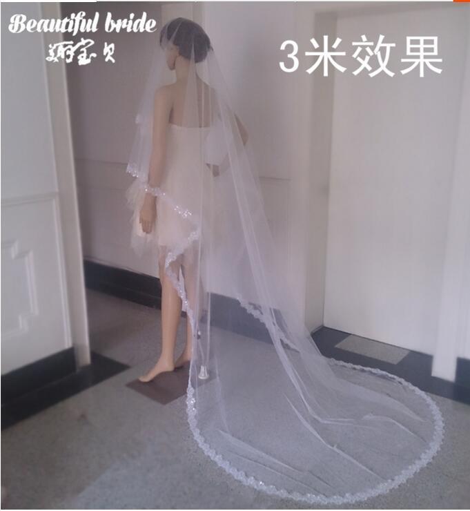 아름다운 웨딩 베일 아플리케이션 크리스탈 소프트 얇은 얇은 베일 화이트 고품질 1.5 2 3 5 M 신부 액세서리