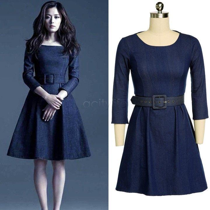 2018 Plus Size Winter Dress 2015 Women Denim Dress Fashion Long