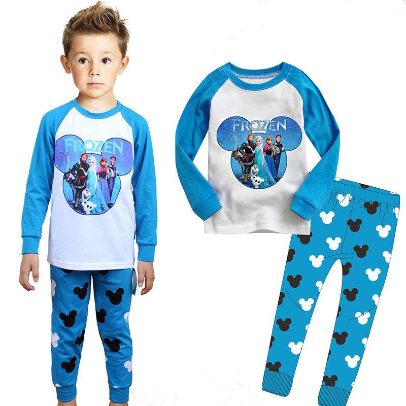 2017 Frozen Anna Elsa Pyjamas Set Boy Top Leggings ...