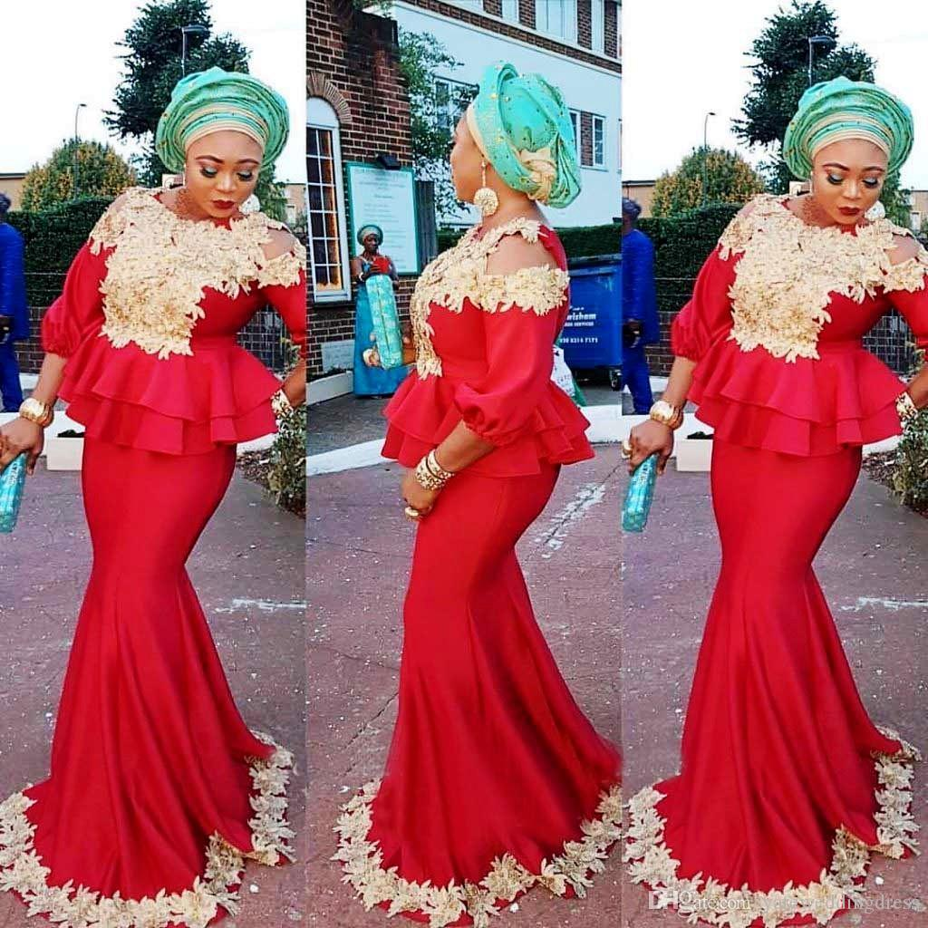 Aso Ebi Evening Dresses 2017 Jewel 3/4 Long Sleeves Prom Gowns With Champange Applique Peplum Sweep Train Custom Made Vestidos Novia Noble