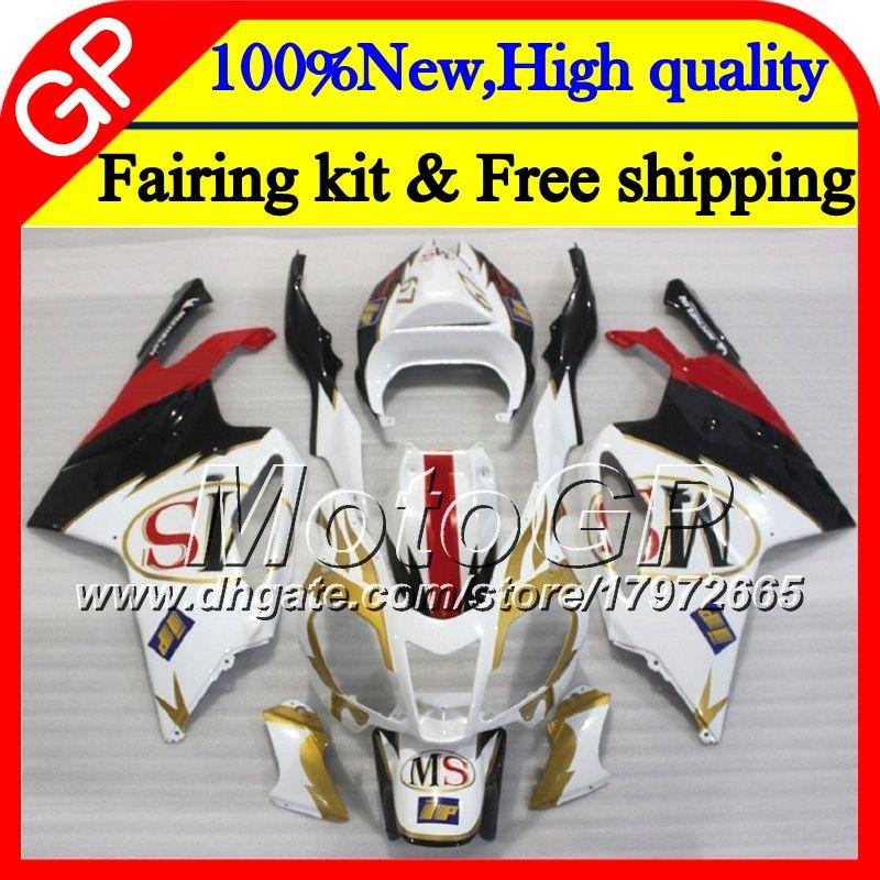 Body For Aprilia RSV1000R Mille RSV1000 RR 03 04 05 06 07 08 2GP12 RSV 1000R 2003 2004 2005 2006 2007 2008 Motorcycle Fairing White golden