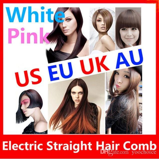 Высокое качество волос кисти авто быстрый розовый выпрямитель для волос расческа утюги с ЖК-дисплей электрический прямые волосы расческой выпрямление