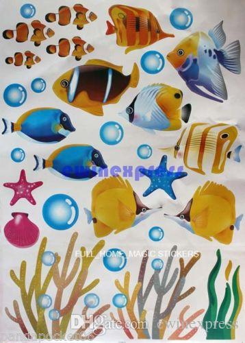 DIY tropical fish wall stickers decal for kids home decor removable Baby nursery bathroom Walls art mural Vinyl decals stickers wallpaper