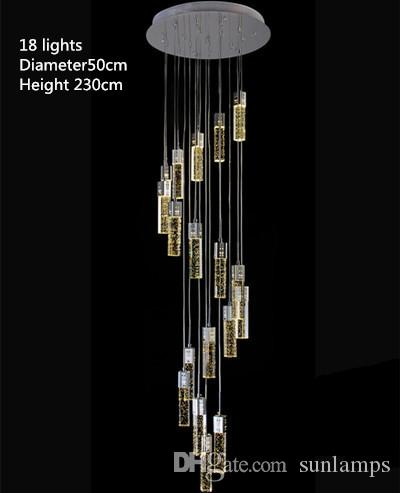 M Modern Led Stairwell Chandeliers Crystal Stair Lighting - Long chandelier crystals