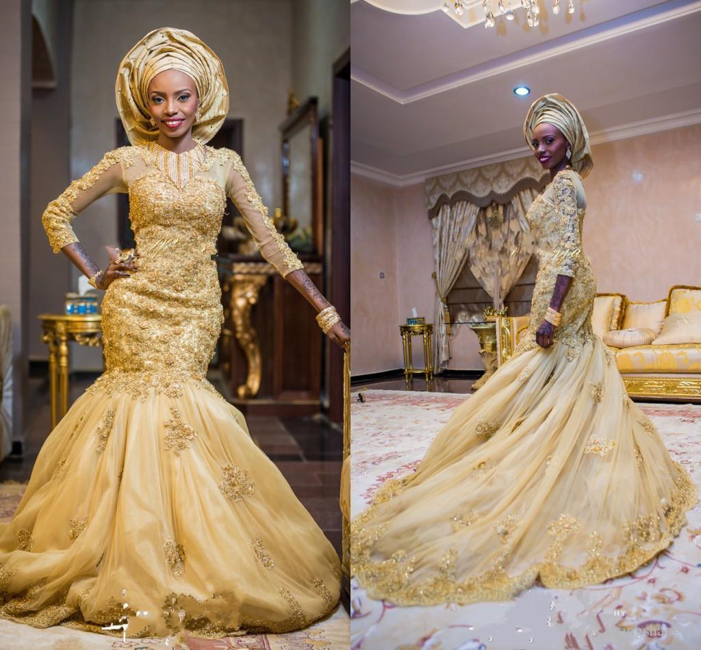 Gold muslim wedding dresses 2015 sexy mermaid nigerian wedding gold muslim wedding dresses 2015 sexy mermaid nigerian wedding gown 34 long sleeve lace appliques beading sequins dubai luxurious dresses wedding dreses ombrellifo Image collections