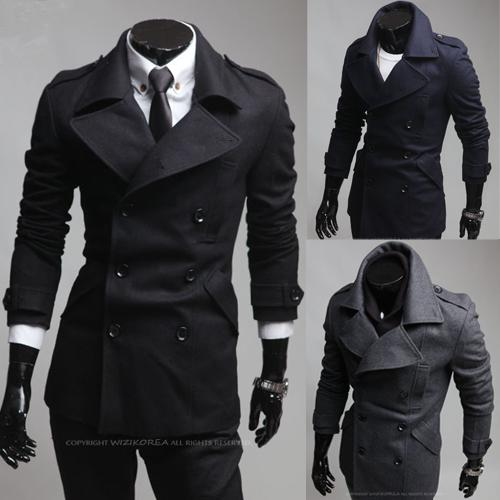2015 New Fashion Men Trench Coat Korean Slim Fit Business Casual ...