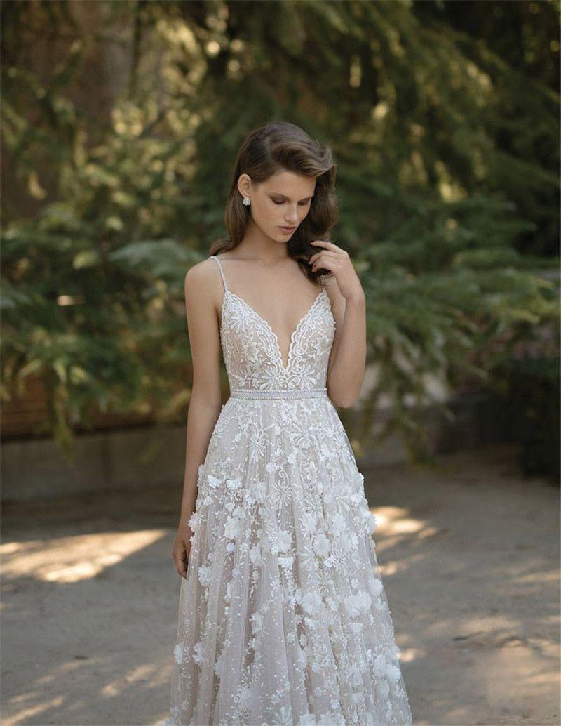 2019 Berta Bridal Wedding Dresses Spaghetti Sweetheart Neckline Backless Lace Applique Bridal Gowns Cathedral Train Sleeveless Wedding Dress