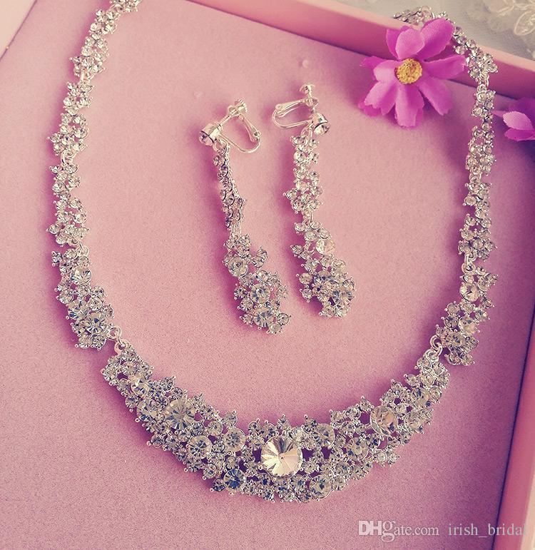 2015 #0126009 Victorian Austrian Rhinestone Crystal Necklace Earrings Set Two Pieces Bridal Wedding Jewlery