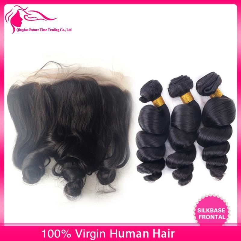 Brazilian Hair 13x4 Silk Base Lace Frontal With 3Bundles Loose Wave Brazilian Human Hair Weaves With Silk Top Ear to Ear Lace Frontal
