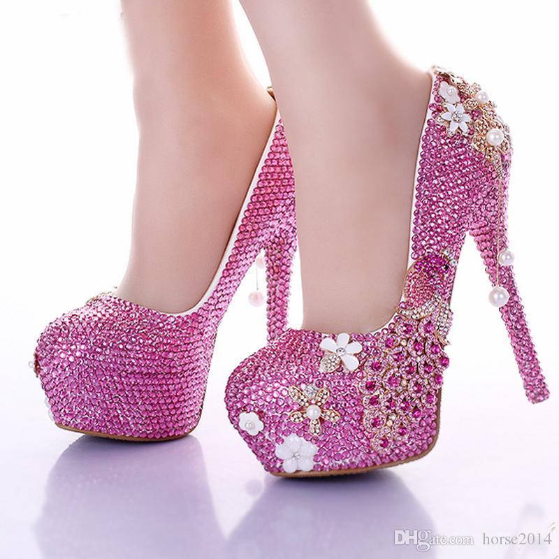Handmade rosa strass sapatos de casamento Phoenix 2019 mais recente moda festa de formatura vestido formal sapatos de dama de honra bombas de salto alto