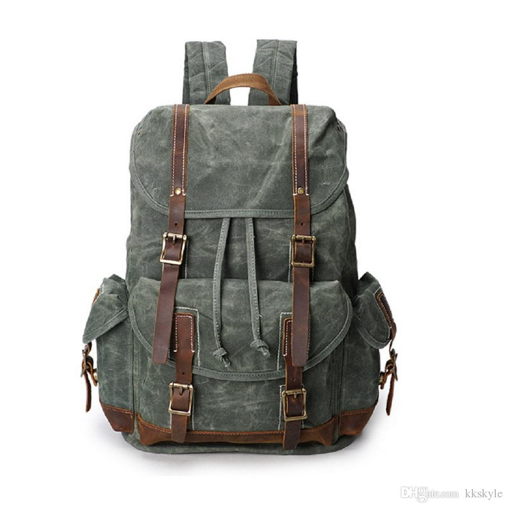 Vintage Canvas Waterproof Backpack Leather School Bookbag Sports Travel Rucksack 15.6 Inch Laptop Bag