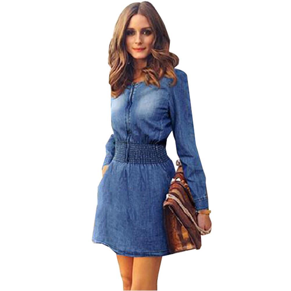 Großhandel Langarm Jeans Kleid Frauen Plus Size Kleid Elastische Taille  Denim Mini Frauen Kleid Sommer Vestidos Femininos Kleider Robe Von Nana333,  ... 0eb2a0ace8