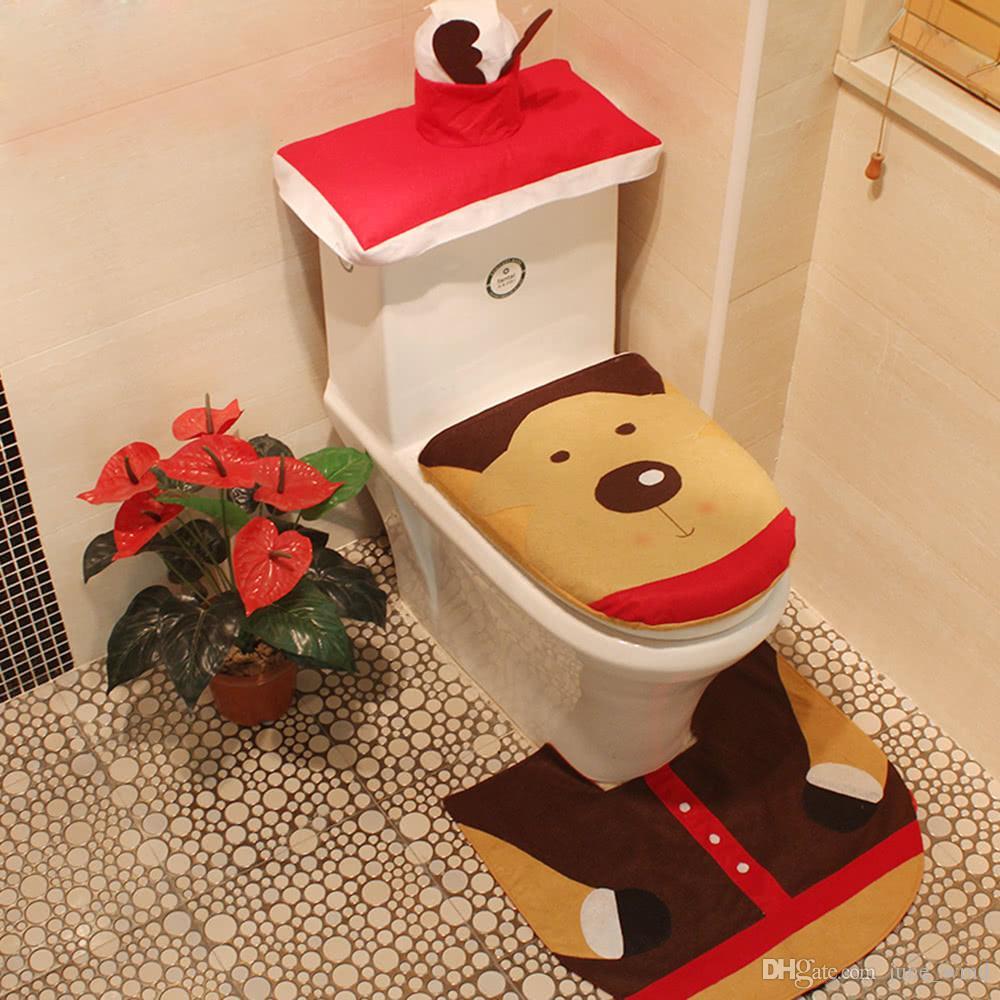 christmas bathroom decorations toilet seat cover u shaped rug tank lid tissue box cover set christmas ornaments reindeer christmas decoration themes - Christmas Bathroom Decorations