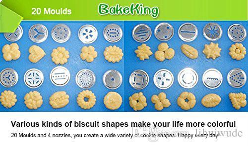 Prensa de la galleta de máquina herramienta, galleta de la galleta de la torta que adorna Haciendo pistola con 20 moldes 4 boquillas plata