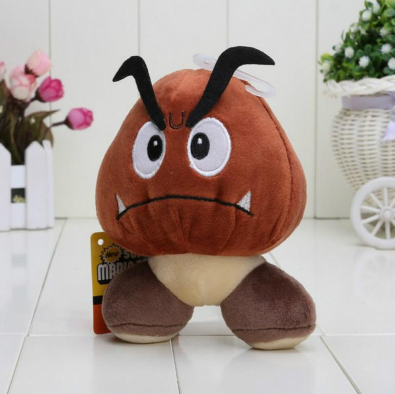 "2016 Hot Sales Brand 14cm Super Mario Bros Plush Toys Doll Poisonous Mushrooms Goomba 5"" Mario Brothers Stuffed Animals Toy Doll Movies Cart"