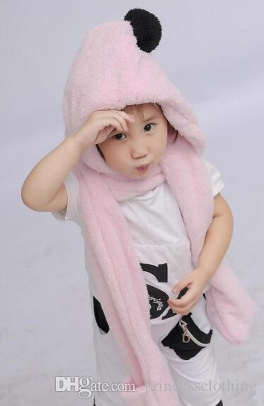 f53af6e6c1a Fashion Children Winter Wraps Grid Warm Conjoined Lovely Fluffy ...