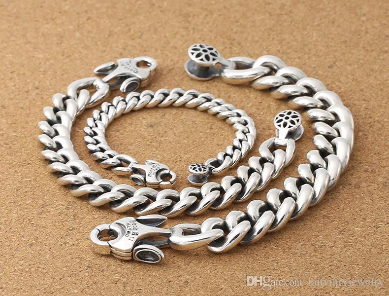 925 серебряные ювелирные изделия дизайнер ручной тяжелые бордюрные ссылки браслет разработан с уникальной застежка 3 РАЗМЕРА 9 мм 14MM 17MM ДЛЯ МУЖЧИН