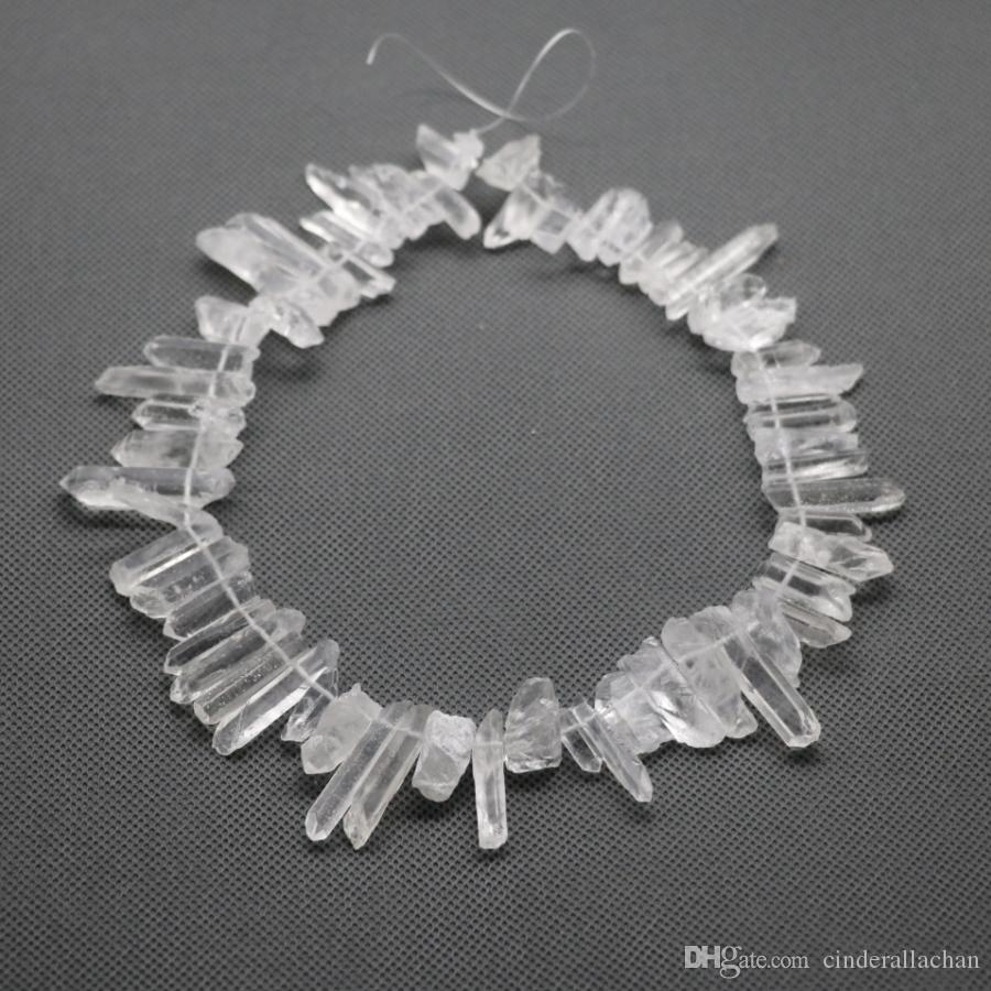 Approx. Raw White Crystal Quartz Rock Pendant, Natural Gemstone Freeform Spikes Points Drilled Briolettes, 15.5 Inch Women Necklace