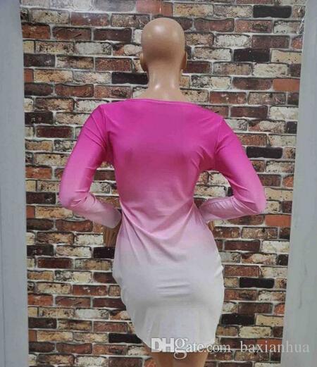 2016 vrouwen beroemdheid sexy lange mouw roze wit gradiënt print slanke bodycon mini jurk party bandage club jurken