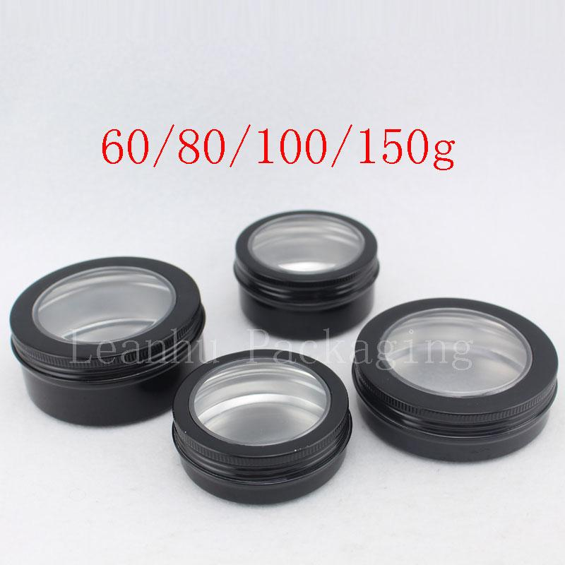 60g 80g 100g 150g black aluminum jar with window (1)