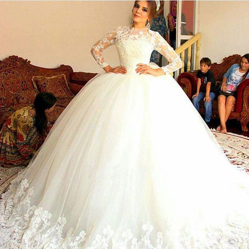 2016 Full Lace Top Muslim Arabic Wedding Dresses Illusion Long