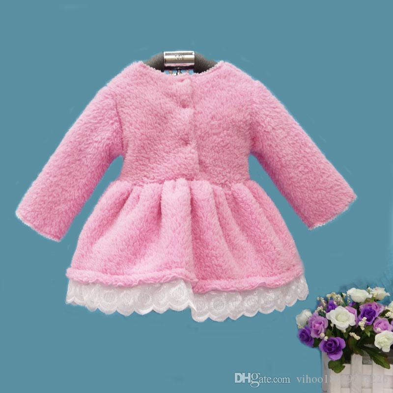 2019 Little Q winter coral fleece long sleeve baby dress ball gown crew neck children birthday wedding dresses infant clothing