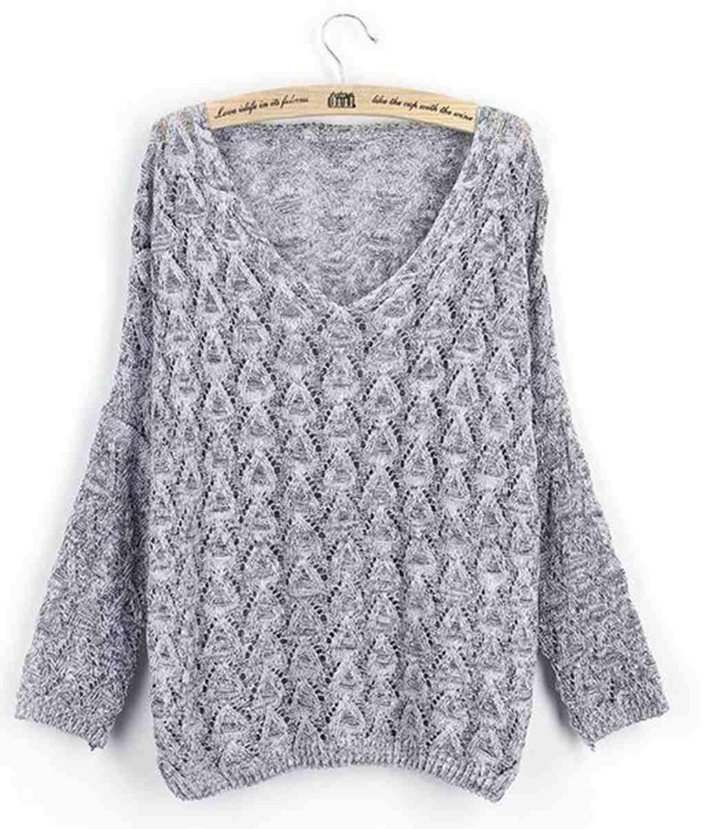 2017 New Look Womens Knitted Sweater Loose Pullover With Hollow ...