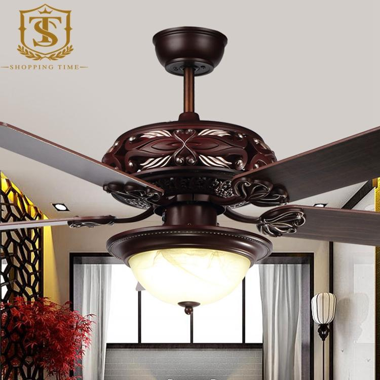 vintage carved wooden blades ceiling fan light 52inch led ceiling fan light fancy ceiling fan - Vintage Ceiling Fans