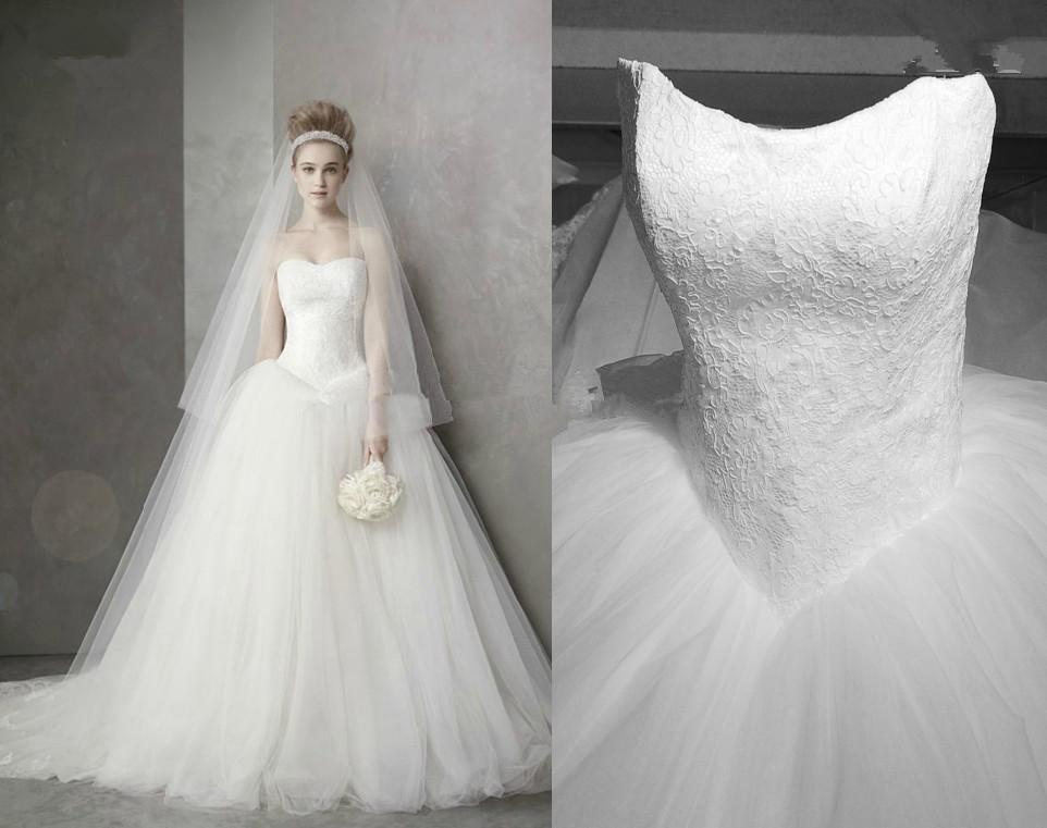 Princess Style Wedding Dresses Sweetheart Lace Tulle V Shape Waist ...