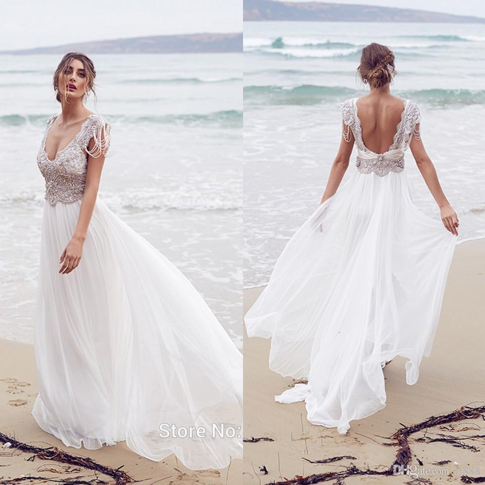 Anna Campbell Wedding Gowns: 2015 Vestidos De Novia Anna Campbell Beach Wedding Dresses