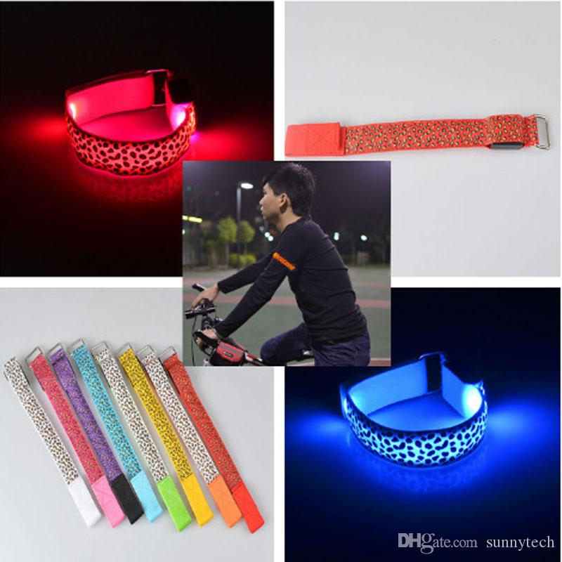Leopard Hand Strap Wristband LED Reflective Light Shine Flash Glowing Luminous Armband Bracelets Wrist Holiday biking light LZ0496