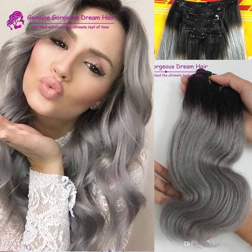 Gray human hair extensions images hair extension hair breathtaking ombre grey clip in human hair extensions 100g body 41 pmusecretfo images pmusecretfo Images