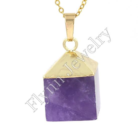 Chapado en oro opal amatista etc piedra natural cuadrado caja de regalo de navidad mascota Reiki colgante encantos amuleto joyería de moda europea 14X Mix